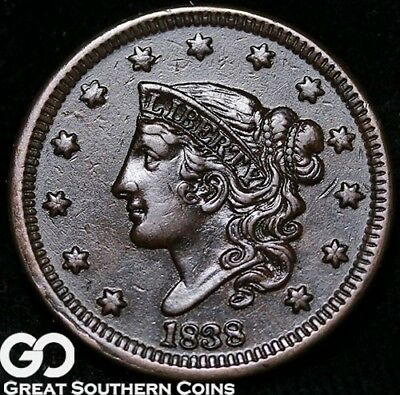 1838 Large Cent, Coronet Head, Very Choice AU++/Unc Early Copper
