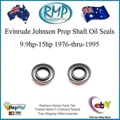 2 New Evinrude Johnson Prop Shaft Oil Seals  9.9hp-15hp 1976-thru-1995  # 321481