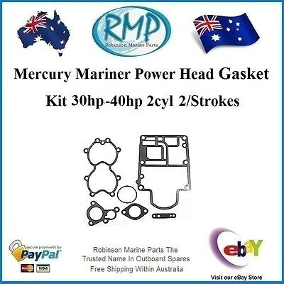 A Brand New Power Head Gasket Kit Mercury 30hp-40hp 2cyl 2/Stroke # 27-822420A94