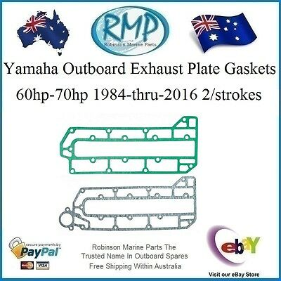 A Brand New Set x 2 Exhaust Plate Gaskets Yamaha 3cyl 60hp-70hp # 6H3-41112-00 k