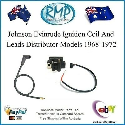 A Brand New Coil & Leads Suits Johnson Evinrude Distributor Models 1968-1972