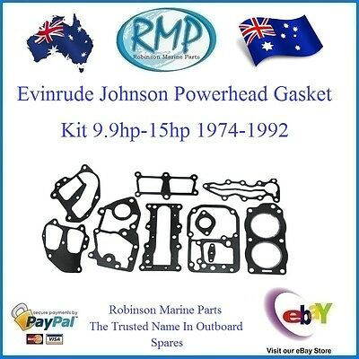 A Brand New Powerhead Gasket Kit Evinrude Johnson 9.9hp-15hp 1974-1992 # 394546