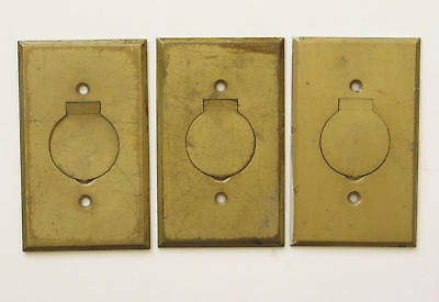 3 ARROW Brass Floor Outlet Plates Round Flip Up Covers Vintage Used