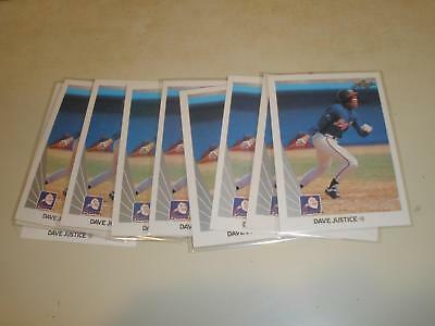 1990 Leaf Baseball 297 David Dave Justice ROOKIE CARD RC LOT OF 10 MINT