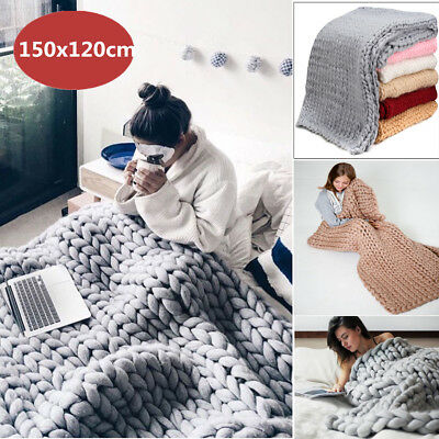 120x150cm Knitted Bulky Chunky Knit Blanket Thick Yarn Throw Bed Sofa Soft 【AU】