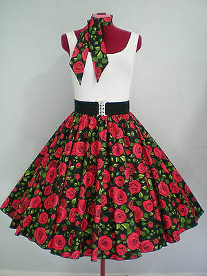 "ROCK N ROLL/ROCKABILLY ""Roses"" SKIRT-SCARF  M-L Black/Red/Green. Last One."