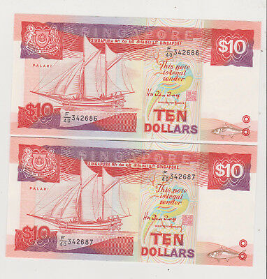 Singapore ND(1988) 10$ ship series a running pair P-22 both perfect GEM UNC A