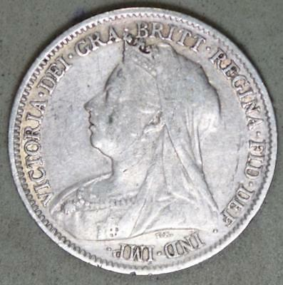 Great Britain 1901 6 Pence Silver Coin