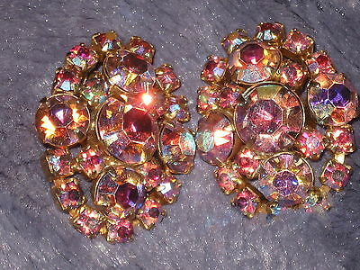 Vintage Mid-Century HUGE Glitzy Rhinestone Hot Pink Earrings