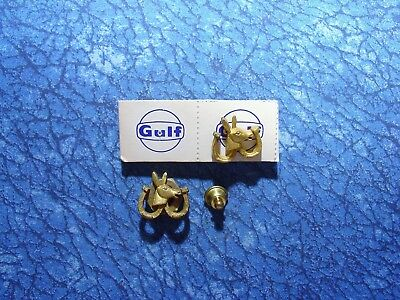2 Vintage Gulf Oil Co. Democratic Donkey and Horseshoe Lapel/Hat Pin Tie Tacks