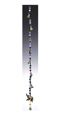 "Lucky Elephant God Ganesh Hindu Indian Wind Chime Bells String Beads 25"" inches"
