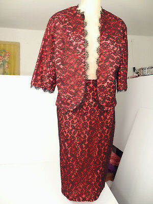 Vtg 60s Nikki's Hollywood Vixen Hot-Pink/Blk Lace Jacket/Pencil-Skirt-Suit-XS