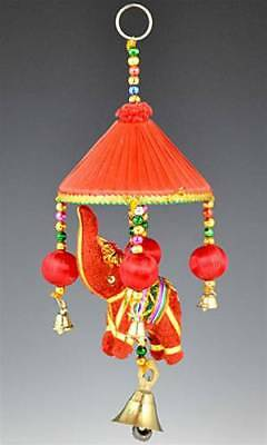 Lucky BRASS Elephant God Ganesh Hindu Indian Wind Chime Bells String Beads 9""