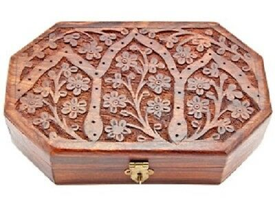 "Wood Carved Jewelry Boxes in 5""X8"" Lucky Tree of Life Circle of Life Tule Tree"