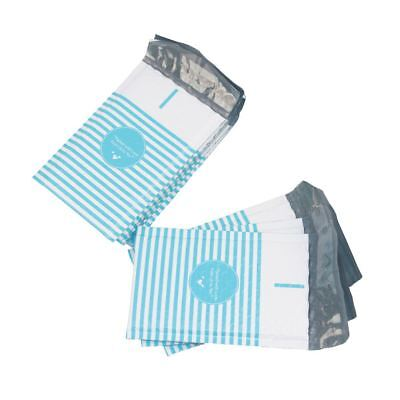 100 4x8 Packed with Love from Us to You Blue Stripe Poly Bubble Envelopes Mailer