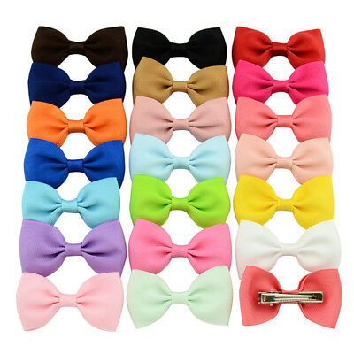 Pack of 20 Baby Girls Hair Pins Grosgrain Ribbon Bows Decor Clips Accessories
