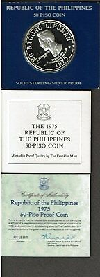 Philippines 50 Piso Silver Proof Crown 1975 Marcos In Case