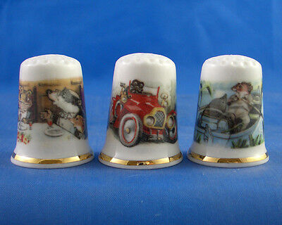 Fine Porcelain China Thimbles - Set Of Three - Wind In The Willows Collection