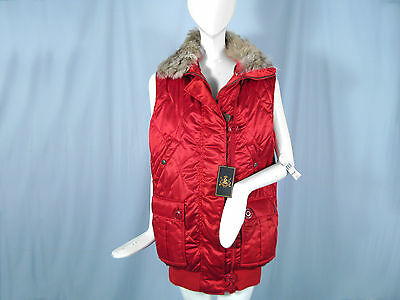 NEW $498 Beautiful Polo Ralph Lauren Vest with Real Fur Trim!  L  Red  Insulated