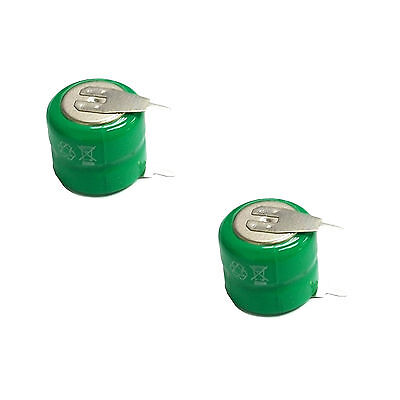 2 pcs 80mAh 2.4V Ni-MH Button Cell Rechargeable Battery w/ Tab Green