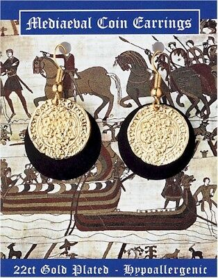 A Pair Of Medieval Gold Plated Coin Earrings