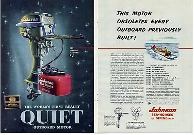 1954 JOHNSON 5.5 HP OUTBOARD 2 pg. AD - plus Winchester Shotguns, Peters Shells
