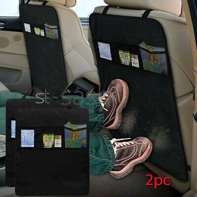 2Pc Kick Mat Car Seat Protector Cover 3 Mesh Pockets Toy Storage Organiser Kids