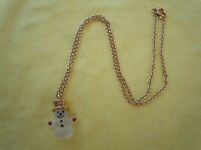"Avon Mr Snowman Pendant Necklace 1980 Vintage 15"" Child's No Box"