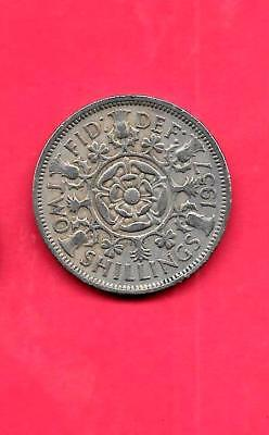 GREAT BRITAIN GB KM906 1957 vf-very fine-nice old circ huge-large florin COIN