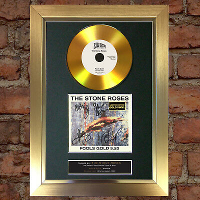GOLD DISC RARE STONE ROSES Fools Gold Cd Signed Autograph Mounted Repro A4 #155
