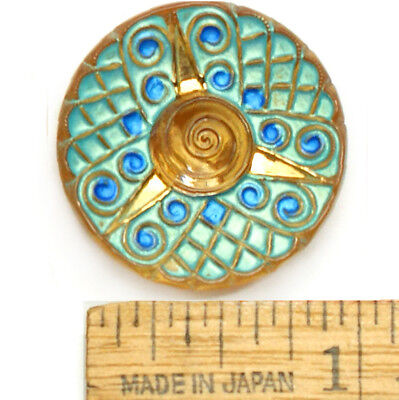 27mm Vintage Czech Glass Matte TURQUOISE Atomic Yellow 3D Rose Flower Buttons 2p