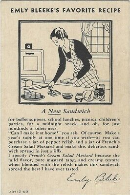 Emly Bleeke's Sandwich Spread Recipe. 1920's French's Mustard Advertising Card.