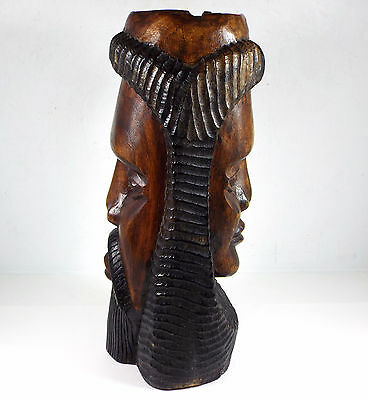 Vintage OOAK Double Face Hand Carved Jamaican Solid Wood Statue Standing Ashtray