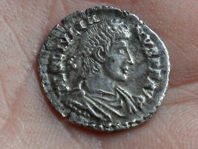 roman silver siliqua coin of Julian II 360-63 VOTIS V MVLTIS X detecting find