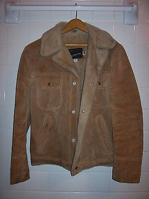 Genuine Split Cowhide Leather Coat /Jacket Lined VTG  Tag Size 38 FReeeSHipping