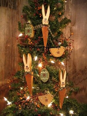 = 7 Primitive EASTER BUNNY Rabbit Carrot  EGG CHICK Wood Ornies Ornaments