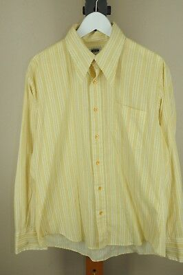 Vintage Golden Vee Yellow & Gold Geometric Stripe Poly Cotton 70's Shirt L Large