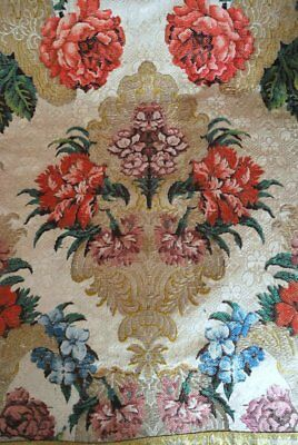 18Thc French Or Continental Silk Brocade Lampas Extravagant Floral & Foliage
