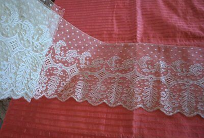 Antique French Hand Valenciennes Lace Flounce Yardage From Old Collection 4 Yds