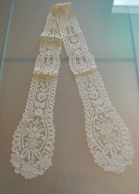 Antique Hand Brussels Lace Long Lappet Or Scarf