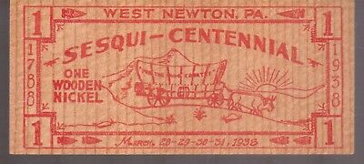 Sesqui-Centennial-March 28-29-30-31,1938-Wooden Nickel-West Newton,pa