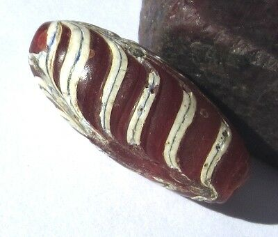 Rare Well Worn Old African Trade Cranberry Red Oval Venetian Feather Antiquebead