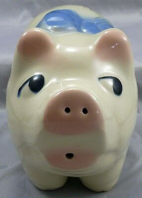 Vintage American Bisque Pottery Attitude Pig Bank With Bow     # 5