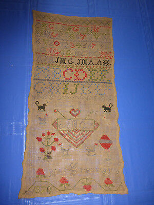 Antique Sampler, 1870, Max Grawar,  Marriage Sampler, heart, A.G.