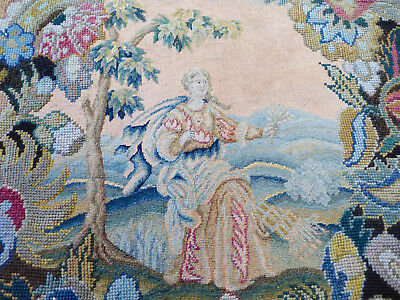 large antique tapestry fine embroidery, woolwork, circa 1850