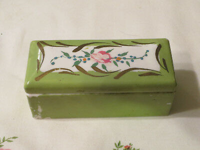 RARE Elfinware Germany Lime Green Gold Small Covered Porcelain Trinket Box