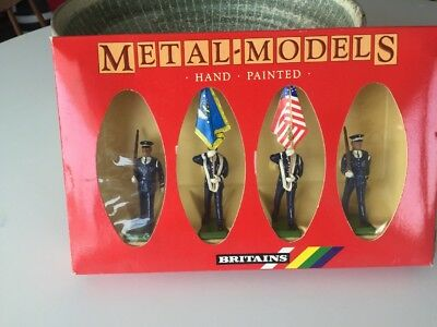 Vintage New In Box Britains Metal Models US Air Force Colour Party Soldiers 7307