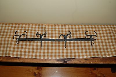 Antique Primitive 19Th C. Hand Forged Iron Utensil Rack