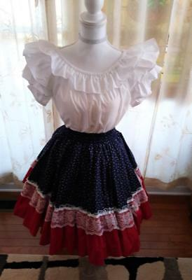 2 Piece Square Dance Outfit - White Malco Poly/Cotton Blouse M & Patriotic Skirt