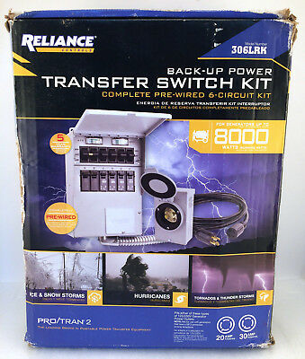 NEW Reliance Back-Up Power Transfer Pre-Wired 6-Circuit Switch Kit 306LRK